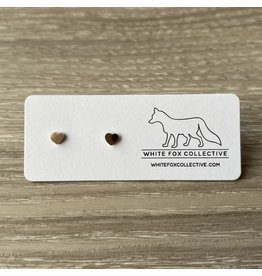 White Fox Collective Tiny Heart Earrings - Rose Gold