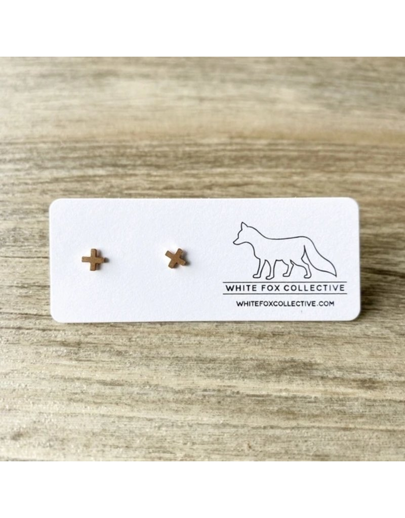 White Fox Collective Tiny Cross Earrings- Rose Gold