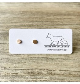 White Fox Collective Tiny Circle Earrings- Rose Gold