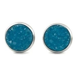 White Fox Collective Faux Druzy Earrings- Teal