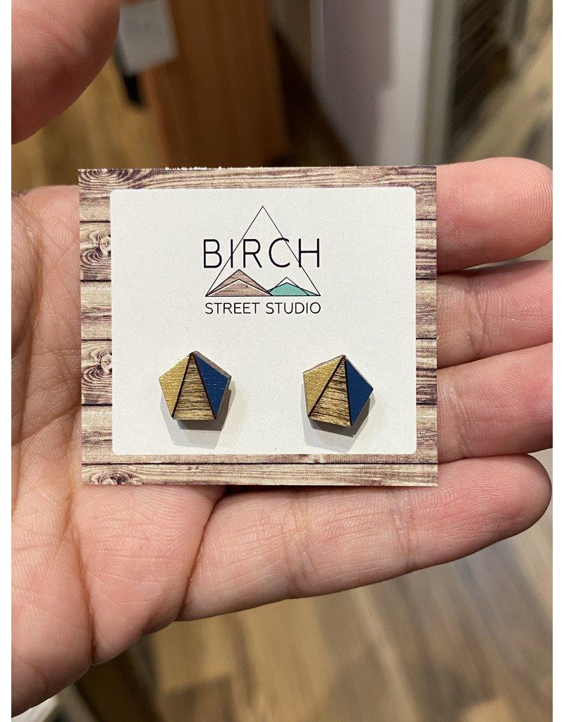 Birch Street Studio Tri Pentagon Navy/Gold  Dark Wood Earrings
