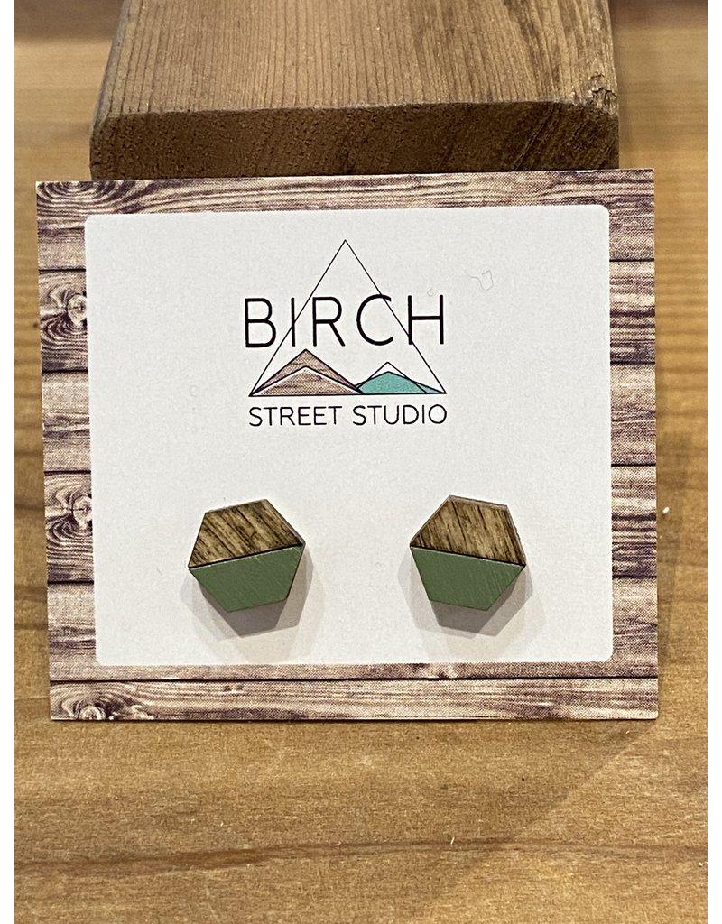 Birch Street Studio Hex Moss Green Dark Wood Earrings