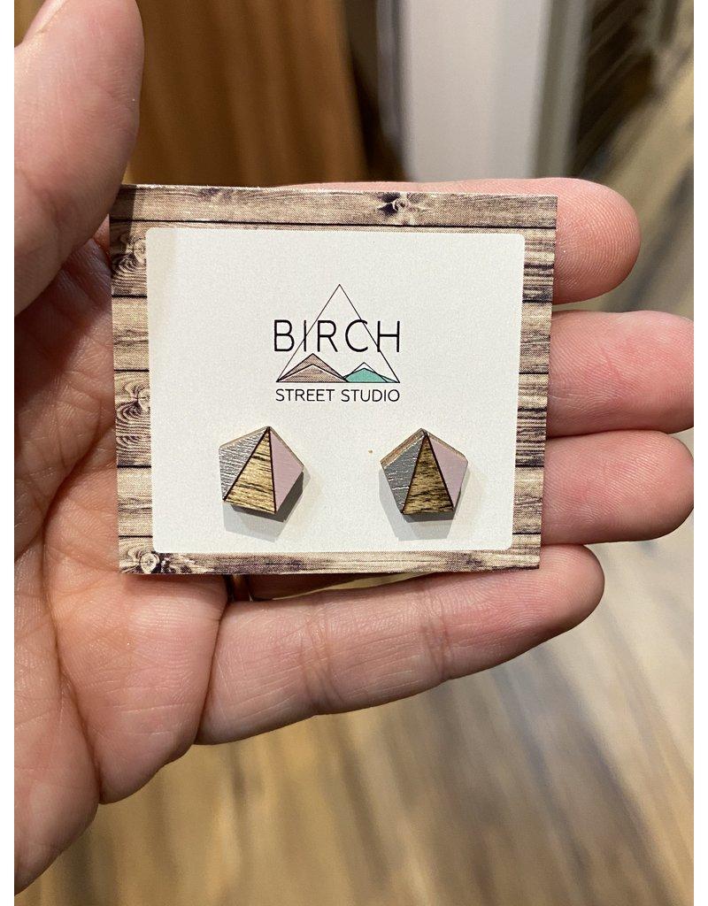 Birch Street Studio Pentagon Lilac/Silver Dark Earrings