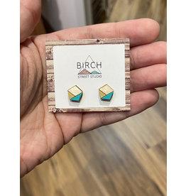 Birch Street Studio Pentagon Mint/Gold Earrings