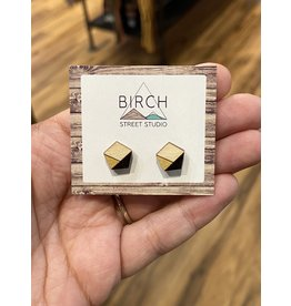Birch Street Studio Pentagon Black/Gold Light WoodEarrings