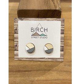Birch Street Studio Round Grey/White Earrings