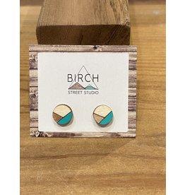 Birch Street Studio Round Teal/Rose Gold Earrings