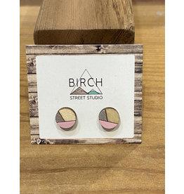 Birch Street Studio Round Pink/Silver Earrings