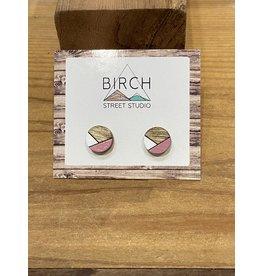 Birch Street Studio Round Pink/White Earrings