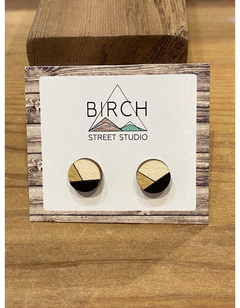 Birch Street Studio Round Black/Gold Earrings
