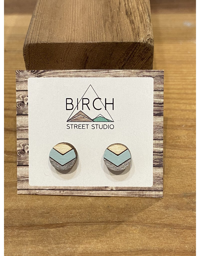 Birch Street Studio Round Chev Ice Blue/Silver Earrings