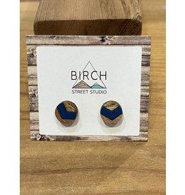 Birch Street Studio Round Chev Navy/Rose Gold Earrings