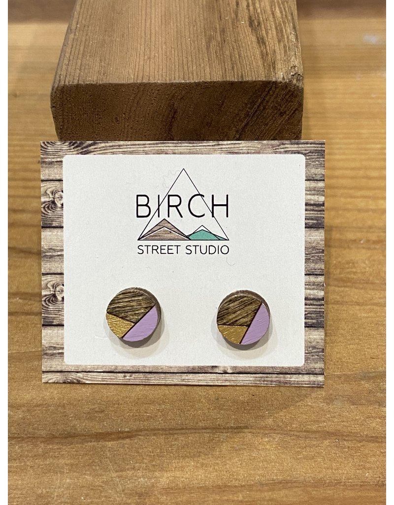 Birch Street Studio Round Lilac/Gold Earrings
