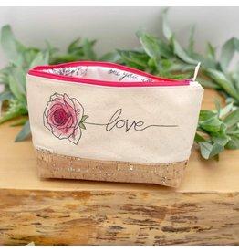 Dyan Made 'Love' Waterproof Cork Bag (Dark Pink)