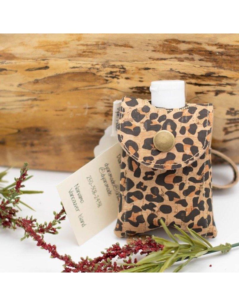 Leopard Print Cork Sanitizer Holder