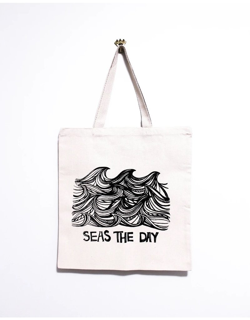 Kindred Coast Seas the Day Reusable Canvas Tote (Natural)