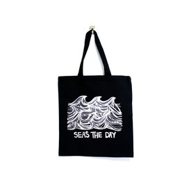 Kindred Coast Seas the Day Reusable Canvas Tote (Black)