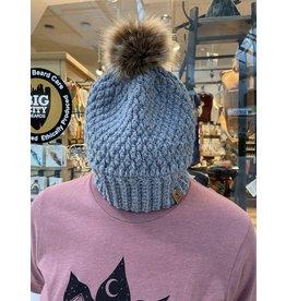 Tillys Cozy Hooks Grey Textured  w/Pom Pom Hat