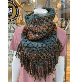 Tillys Cozy Hooks Triangle Cowl - Copper/Teal