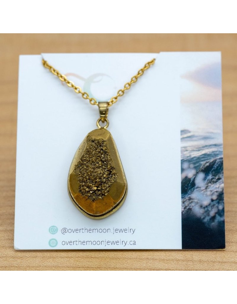 Over the Moon Jewelry Gold Druzy Pendant Necklace