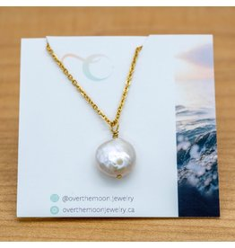 Over the Moon Jewelry Pearl Gold Necklace