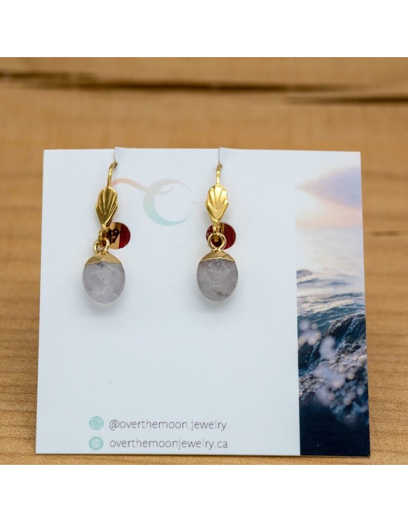 Over the Moon Jewelry Clear Quartz Pendant Earrings