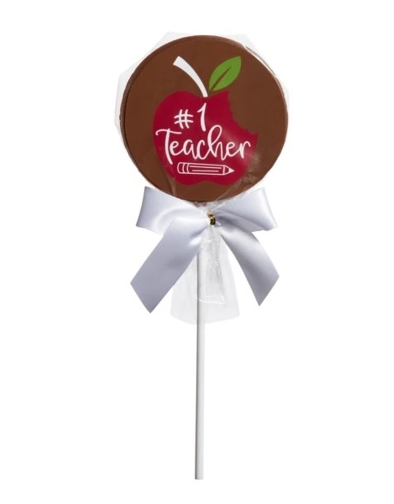 "Saxon Chocolates Milk Chocolate ""#1 Teacher"" Pop"