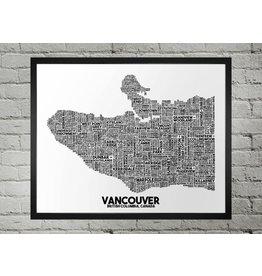 Damon D Chan Map Designs Vancouver City Map Print