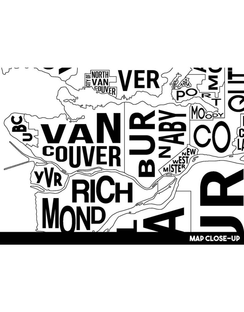 Damon D Chan Map Designs Greater Vancouver City Map Print