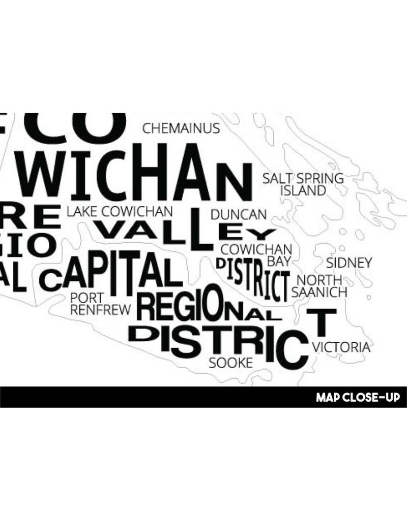 Damon D Chan Map Designs Vancouver Island City Map Print