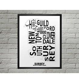 Damon D Chan Map Designs Surrey City Map Print