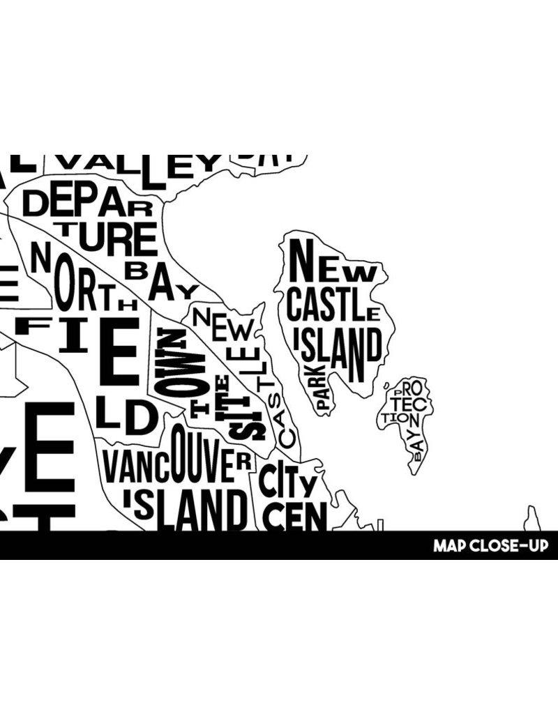 Damon D Chan Map Designs Nanaimo City Map Print