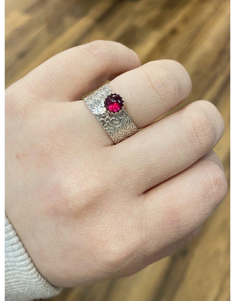 Blackbird Silversmith Wide Red Stone Ring #14