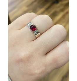 Blackbird Silversmith Thin Red Stone Ring #15