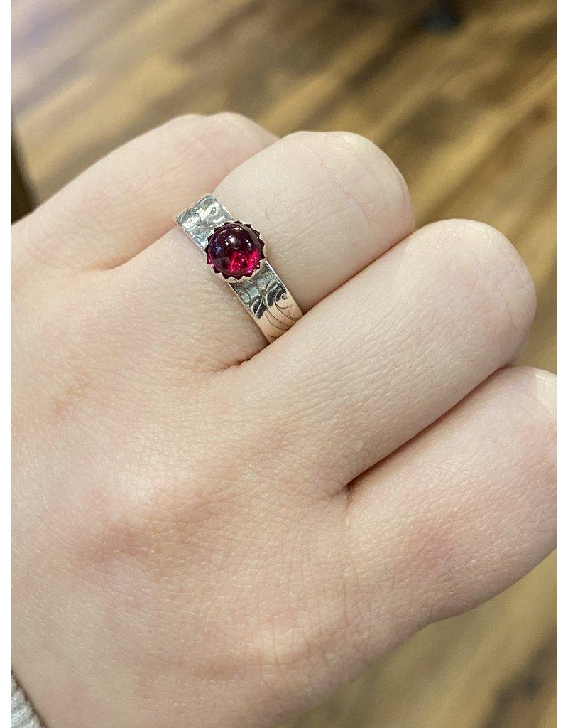 Blackbird Silversmith Thin Red Stone Ring #15