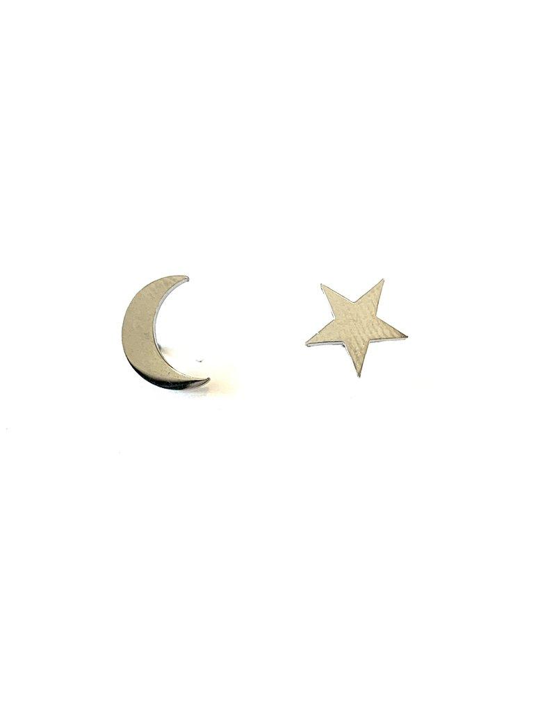 Royce & Oak Star & Moon Earrings- Silver