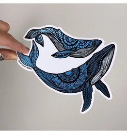 West Coast Karma Mom and Baby Ombre Blue Whale Vinyl Sticker
