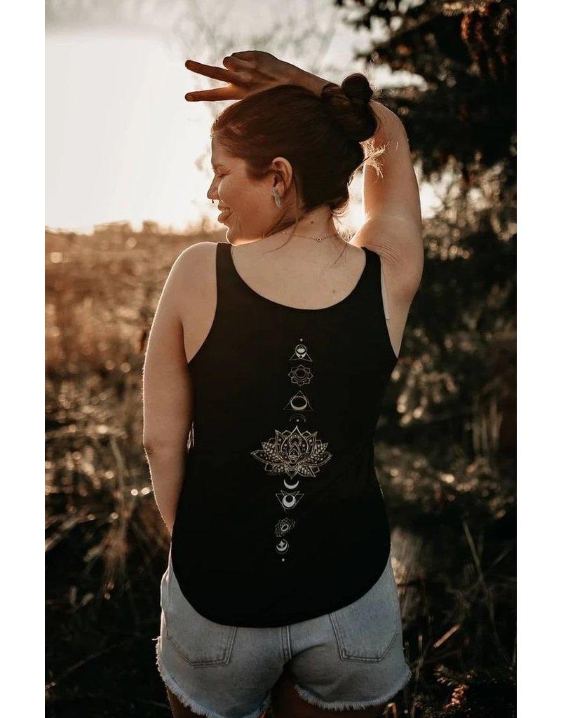 West Coast Karma Chakra Lotus Flowy Scoop Tank in Black