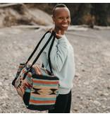 Lace Brick Designs Teal Brown Overnighter Bag