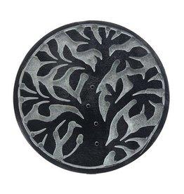 Cultured Coast Soapstone Round Incense Holder - Tree of Life