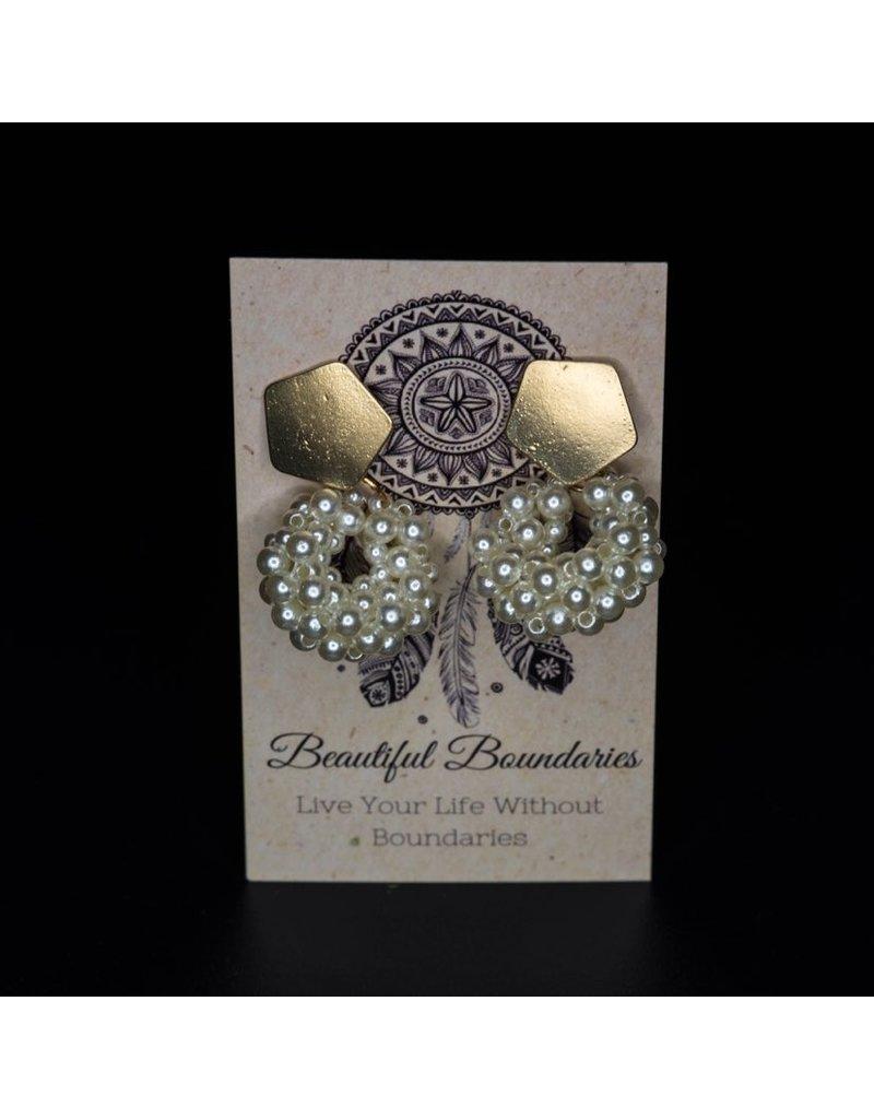 Beautiful Boundaries Pentagon Pearl Earrings