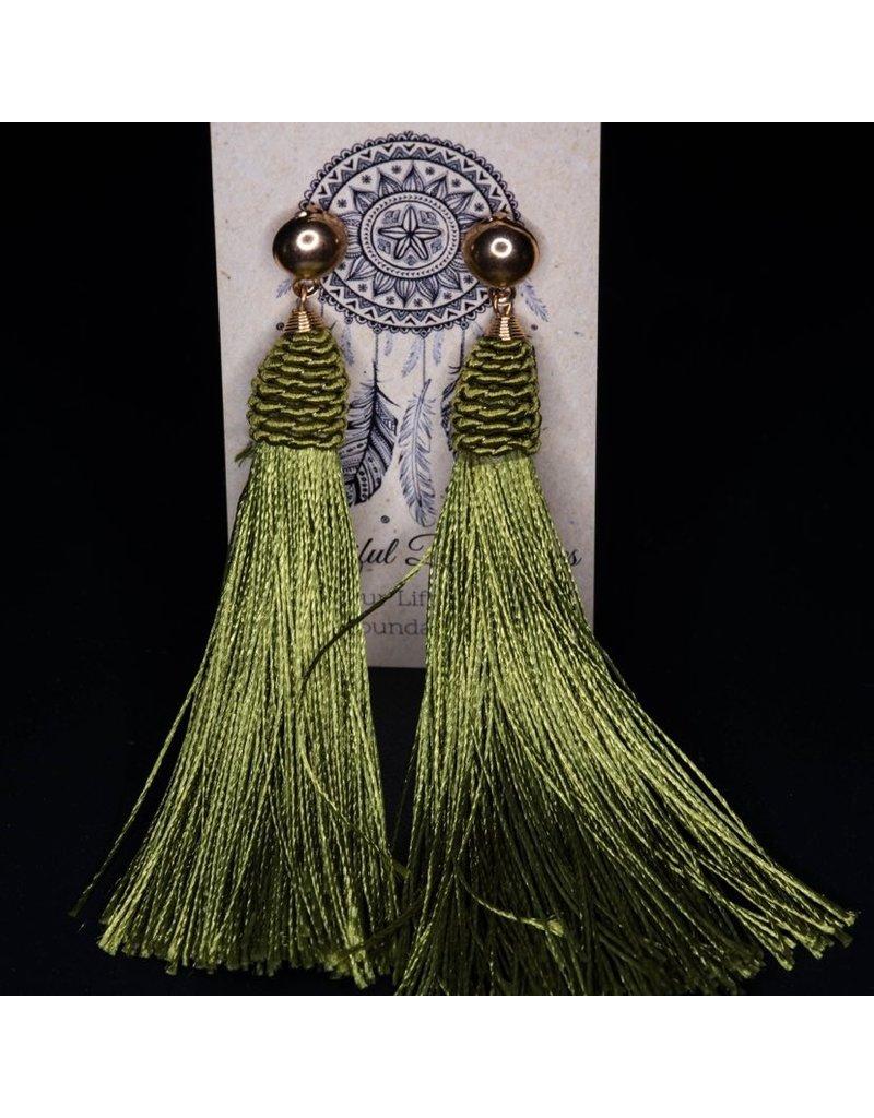 Beautiful Boundaries Green Tassel Earrings