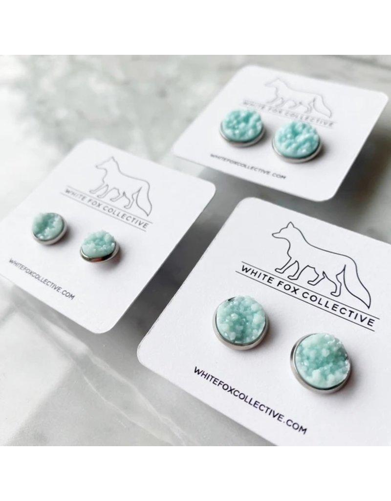 White Fox Collective Faux Druzy Earrings - Glacier Blue