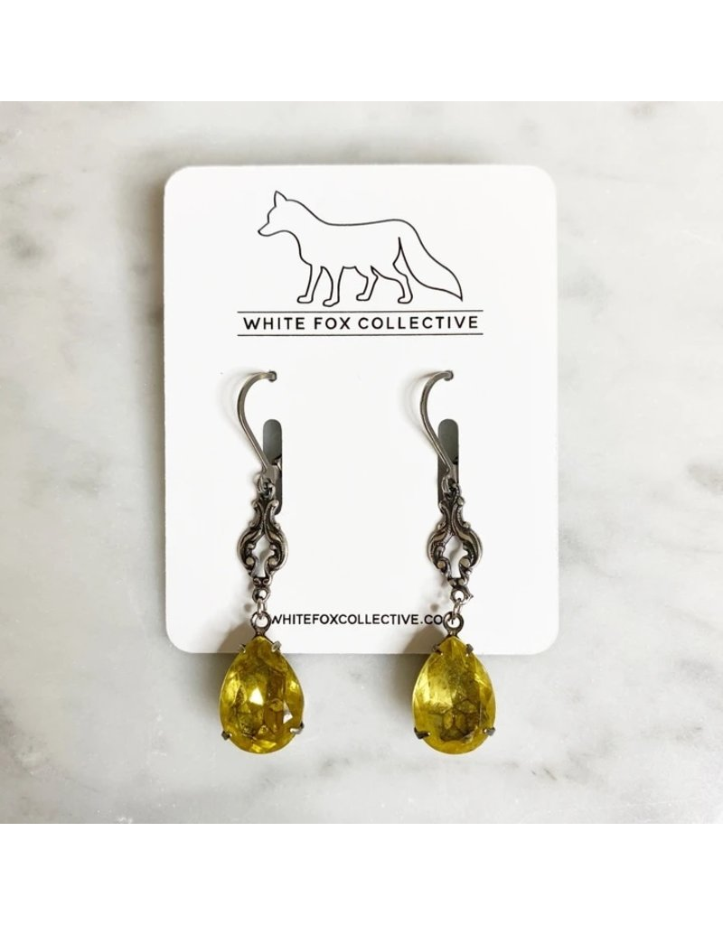 White Fox Collective Vintage Glass Earrings - Yellow