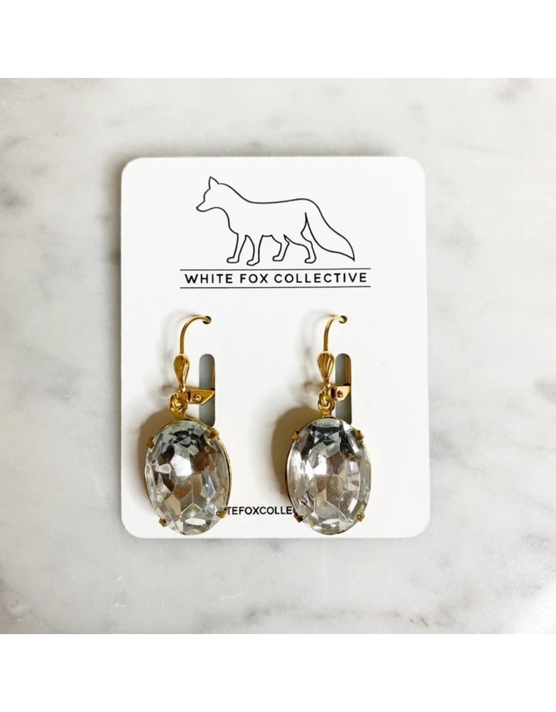 White Fox Collective Vintage Glass Earrings - Crystal