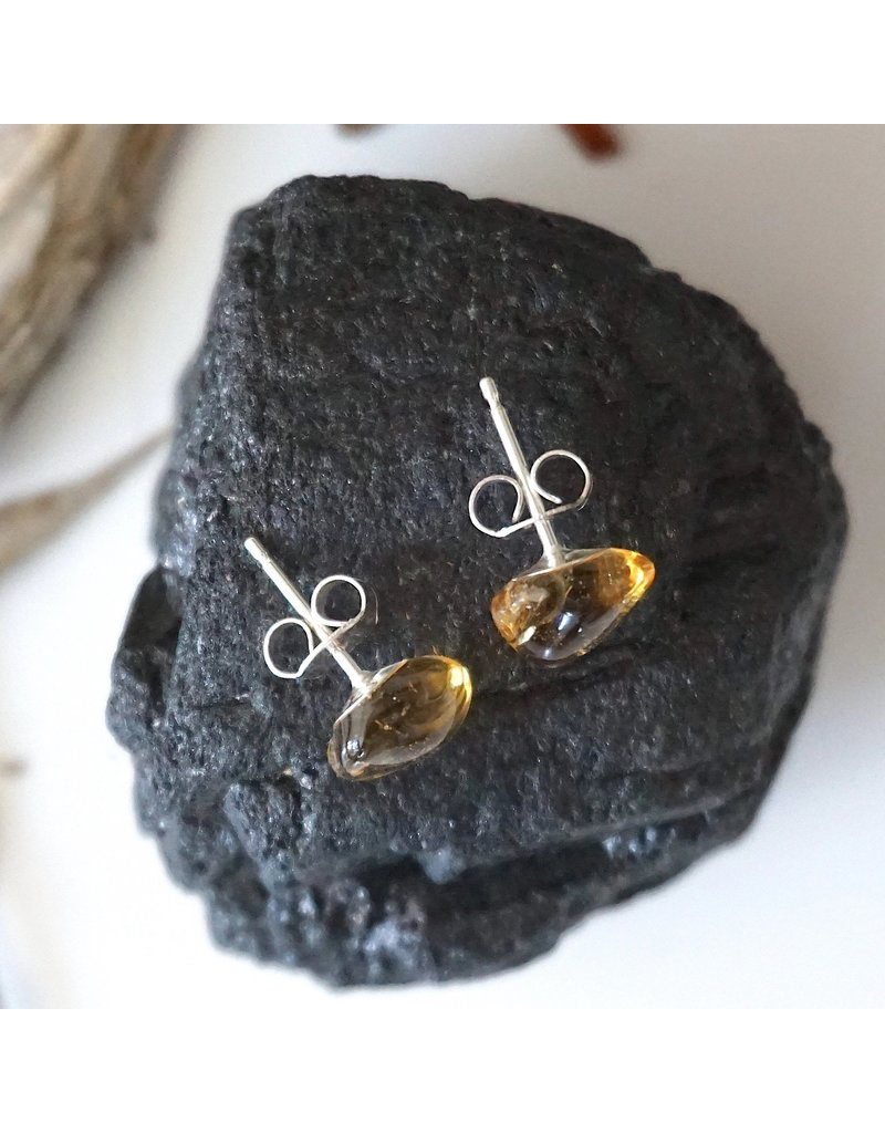 Designs By Nature Gems Citrine Stud Earrings - November Birthstone