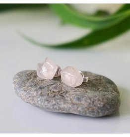 Designs By Nature Gems Rose Quartz Stud Earrings