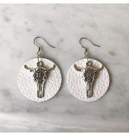 White Fox Collective White Vegan Leather Bull Skull Earrings