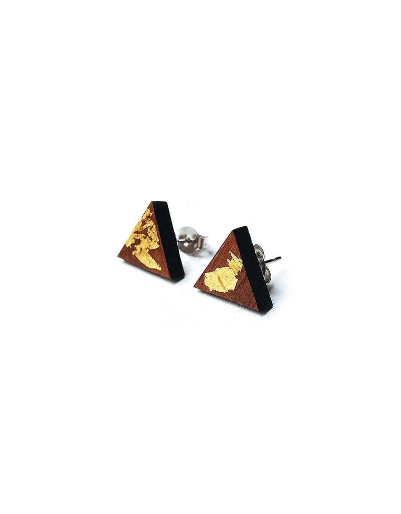 Cabin + Cub Walnut and Gold Earrings - Triangle