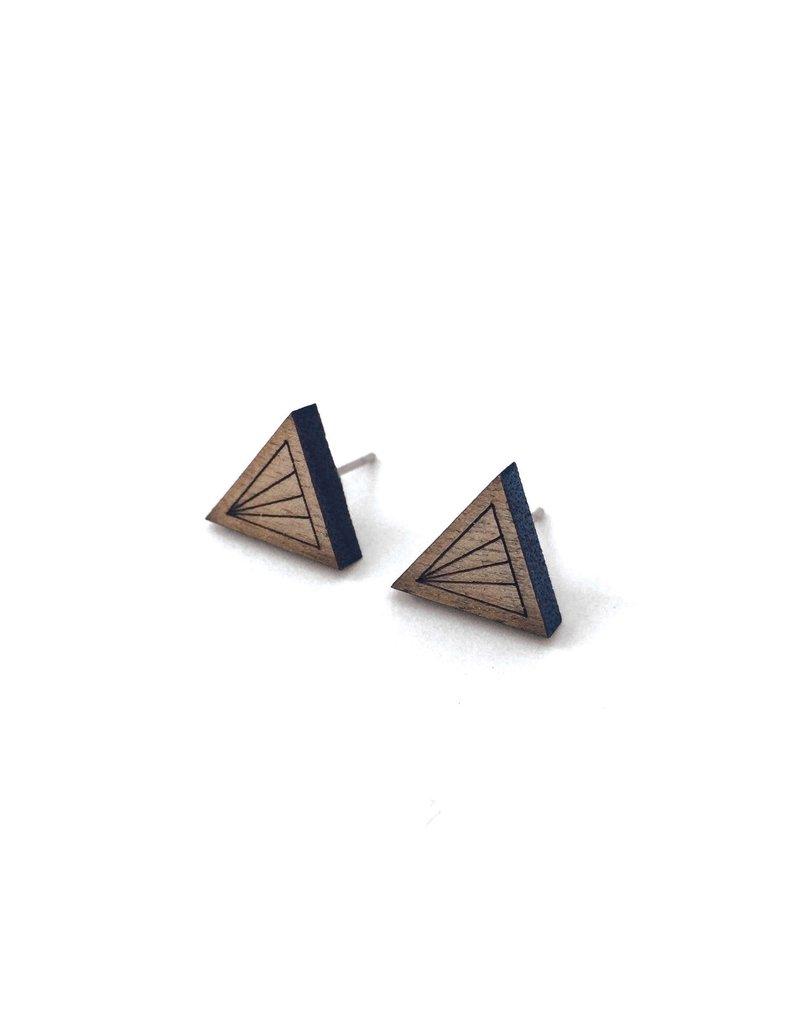 Cabin + Cub Walnut Geometric Earrings - Triangle